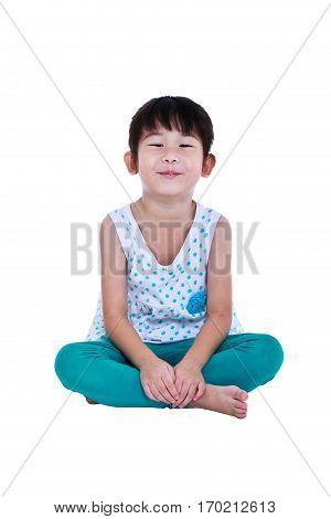 Happy Asian Child Sitting At Studio, Isolated On White Background.