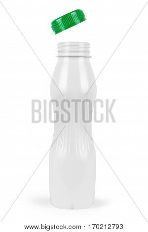 Yogurt plastic bottle isolated on background. Dairy, Wash, Can, Grocery, Lid,
