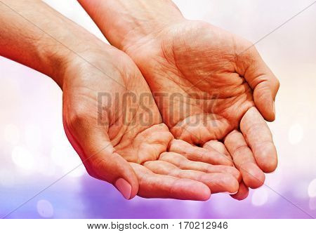 male hands with skin crease, palms up poster