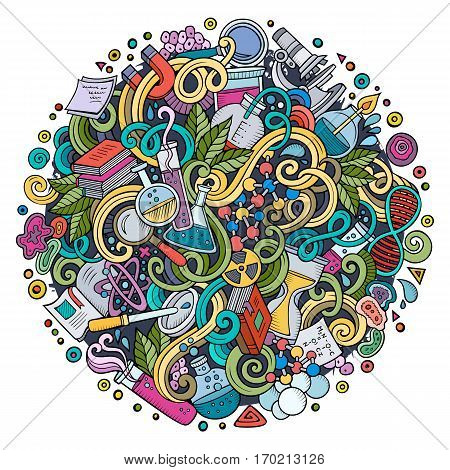 Cartoon cute doodles hand drawn Science illustration. Colorful detailed, with lots of objects background. Funny vector artwork
