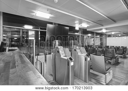 Airport boarding pass control area. Travel and tourism background. Empty