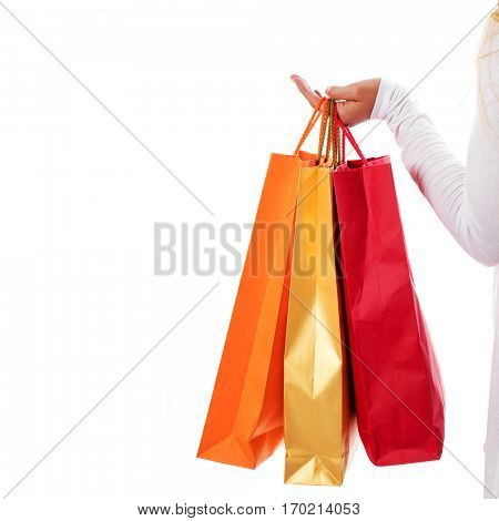 Isolated womans hand carries a shopping bag.