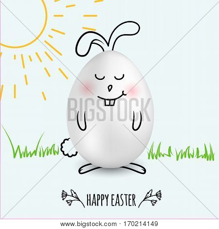 Happy Easter Egg In A Shape Of Cute Happy Smiling Bunny On White  Background With Hand Drawn Sun And