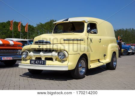 DEN BOSCH THE NETHERLANDS - MAY 8 2016: Classic 1951 Ford F1 car on the parking lot at the Rock Around The Jukebox event.