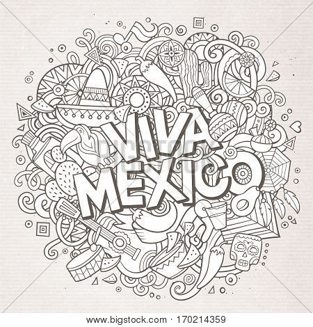 Viva Mexico sketchy outline festive background. Cartoon vector hand drawn Doodle illustration. Line art detailed design with objects and symbols. All objects are separated