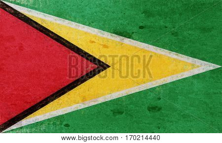 Illustration of the flag of Guyana with a grunge texture