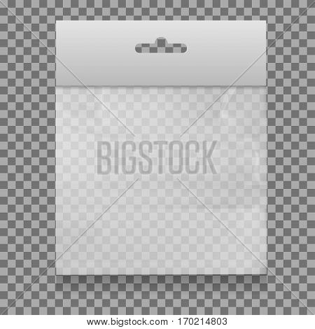 Empty Transparent Plastic Pocket Bags . isolated on white background . vector illustration .