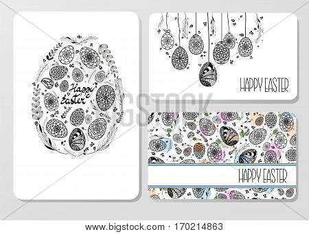 Set Of Decorative Easter Cards With Hand Drawn Ornamental Eggs And Floral Elements. Doodle Style. Bl