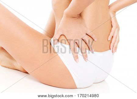 Awful backache, isolated, white background.