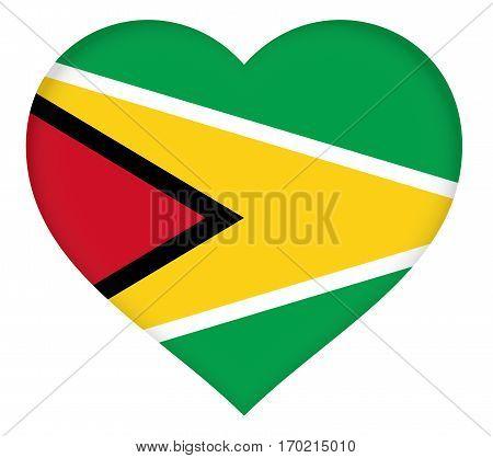 Illustration of the flag of Guyana shaped like a heart.