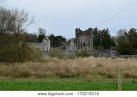 Desmond castle ruins with a large hay field in Ireland.