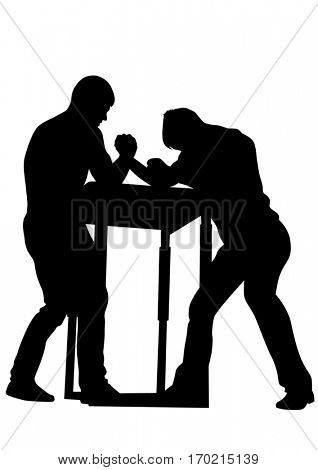 Athletes to compete in arm wrestling on the white background
