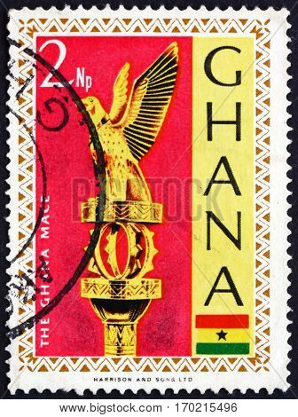 GHANA - CIRCA 1967: a stamp printed in Ghana shows Ghana Mace (golden staff) the symbol of Parliament's authority circa 1967