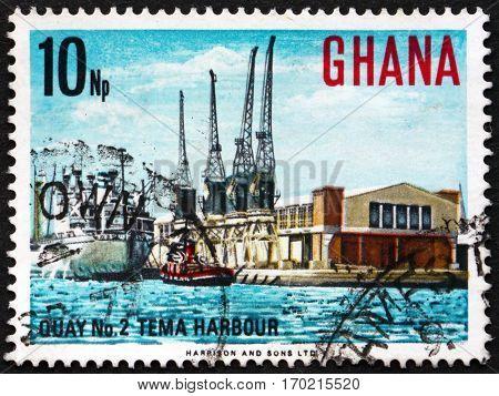 GHANA - CIRCA 1967: a stamp printed in Ghana shows Quay no 2 Tema harbor circa 1967