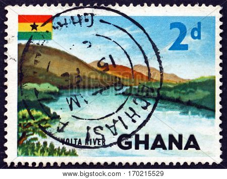 GHANA - CIRCA 1967: a stamp printed in Ghana shows View of Volta river circa 1967