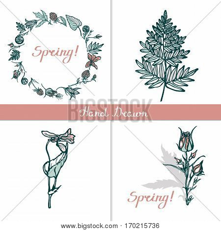 Set of greeting cards. Round frame with wild plants, flowers and ferns. Spring. Lettering. Geum Rivale, ferns, cloudberries, wood violet. Hand drawn.