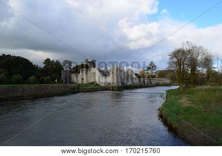 Desmond castle ruins on the river maigue in Ireland.