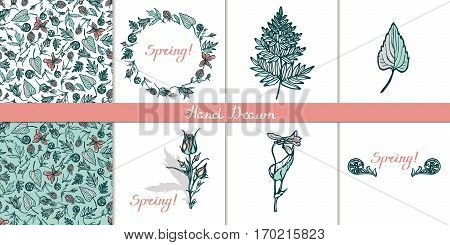 Set cards with wild plants. Wreath, seamless pattern, isolated objects, lettering. Congratulations to the spring. Fern, cloudberries, Geum Rivale, bluebells, violets. Hand drawn. Vector illustration.