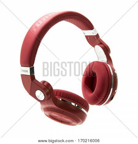 SWINDON UK - FEBRUARY 6 2017: Chic & Stylish Bluedio Turbine Overear Bluetooth Red Headphones front view isolated on white background