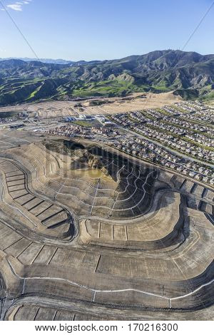Aerial view of new neighborhood construction in the Porter Ranch community of Los Angeles.
