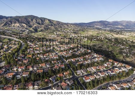 Suburban houses and streets in the Porter Ranch community of Los Angeles, California.