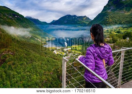 Geiranger fjord, Beautiful Nature Norway panorama. It is a 15-kilometre (9.3 mi) long branch off of the Sunnylvsfjorden, which is a branch off of the Storfjorden (Great Fjord).