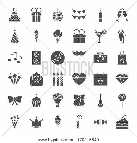 Birthday Solid Web Icons. Vector Set of Celebration and Party Glyphs.