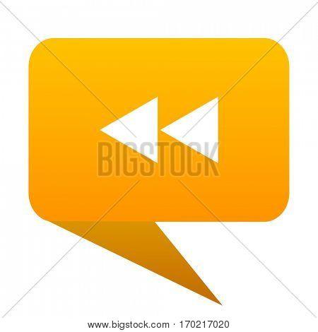 rewind orange bulb web icon isolated.