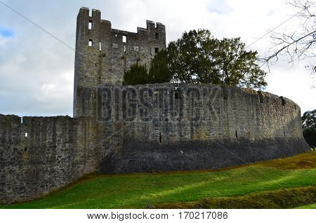 Desmond Castle and surrounding stone walls in Ireland.