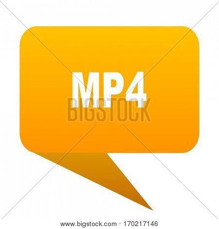 mp4 orange bulb web icon isolated.