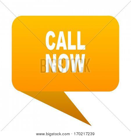 call now orange bulb web icon isolated.