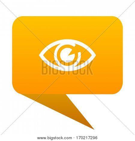 eye orange bulb web icon isolated.