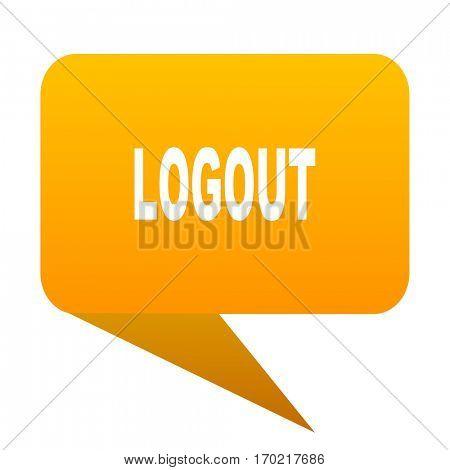 logout orange bulb web icon isolated.