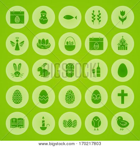 Happy Easter Solid Circle Icons. Vector Illustration of Spring Holiday Glyphs over Blurred Background.