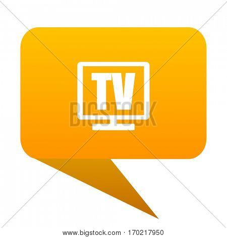 Tv orange bulb web icon isolated.