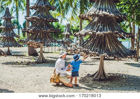 Christmas Trees Made From Recycled Materials From Old Palm Branches