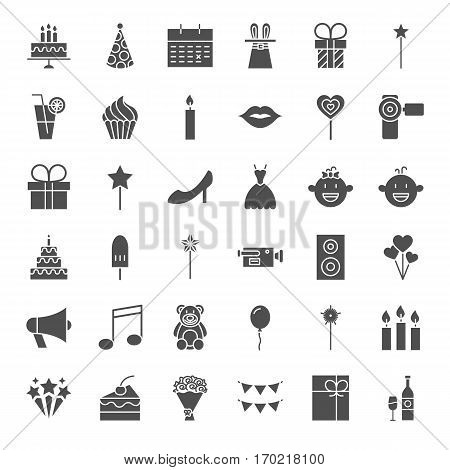 Party Solid Web Icons. Vector Set of Birthday Celebration Glyphs.