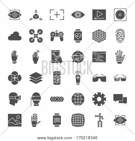 Virtual Reality Solid Web Icons. Vector Set of Augmented Technology Glyphs.