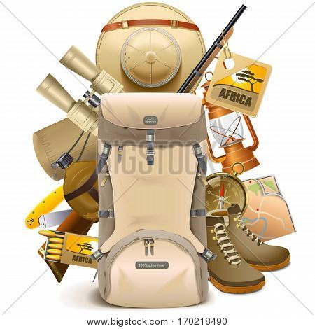 Vector Safari Haversack isolated on white background