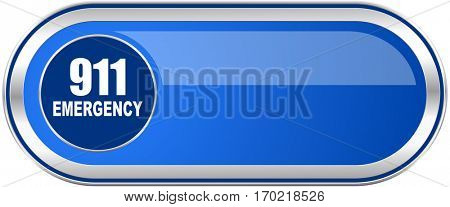 Number emergency 911 long blue web and mobile apps banner isolated on white background.