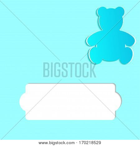 Greeting card for a children's holiday or Birthday. Teddy Bear cut out from paper and space for text. Vector illustration. Paper cutout art style
