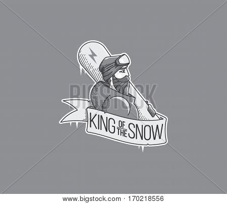 Vector winter sport snowboarding badge and icon concept