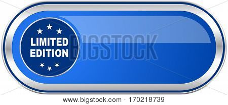 Limited edition long blue web and mobile apps banner isolated on white background.