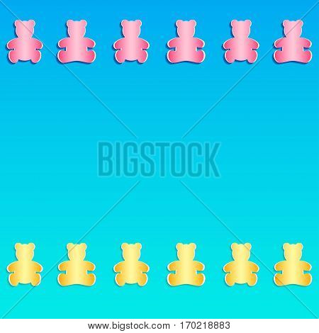 Set of of Teddy Bear cut out from paper. Vector illustration. Paper cutout art style