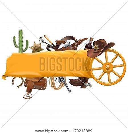 Vector Cowboy Banner isolated on white background