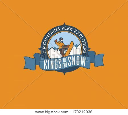 Vector winter sport snowboarding king of the snow concept