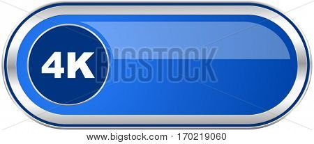 4k long blue web and mobile apps banner isolated on white background.