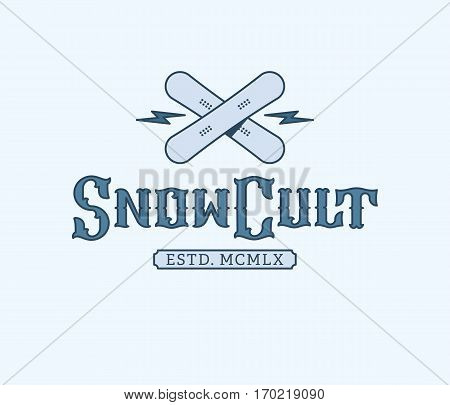 Vector winter sport snowboarding snow cult concept