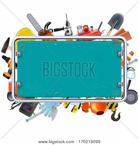Vector Construction Rusty Frame with Tools isolated on white background