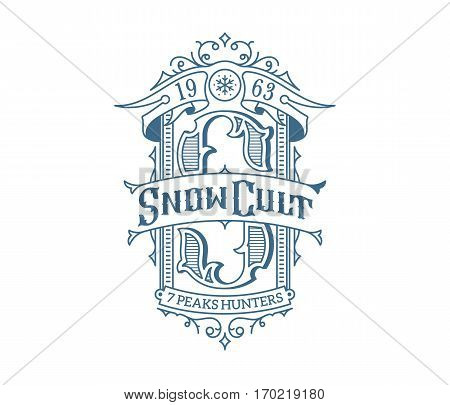 Vector winter sport snowboarding lettering and monogram concept